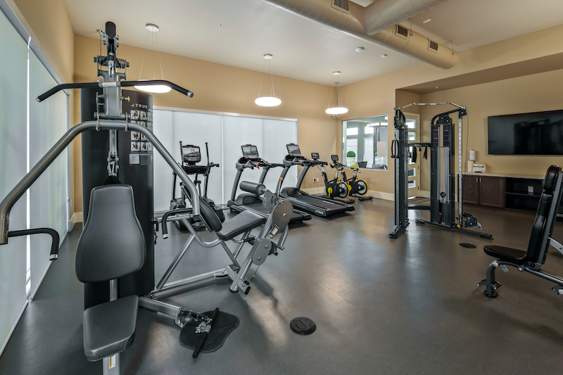 Allure Apartments Multi Family Residential Construction General Contractor Near Me Modesto Stockton Workout Fitness Center View