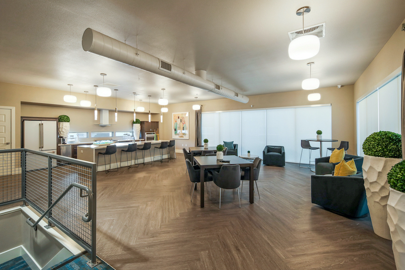 Allure Apartments Multi Family Residential Construction General Contractor Near Me Modesto Stockton Clubhouse Dining Kitchen View