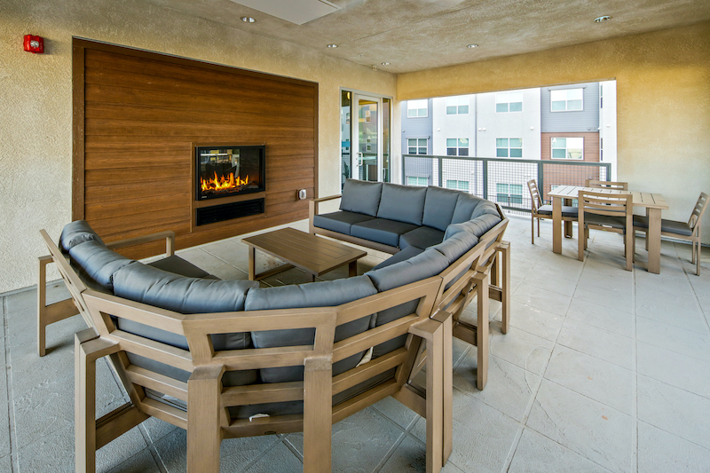 Allure Apartments Multi Family Residential Construction General Contractor Near Me Modesto Stockton Clubhouse Outdoor Fireplace