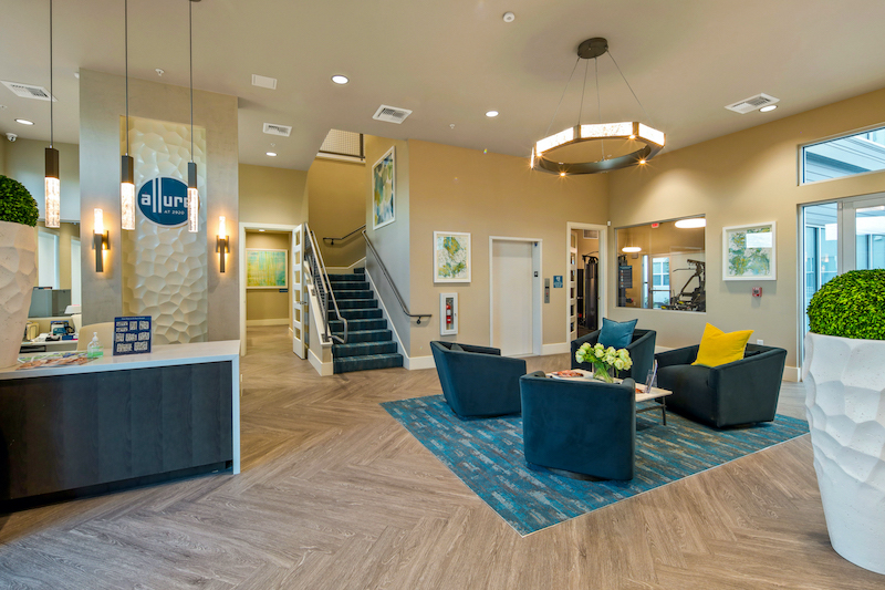 Allure Apartments Multi Family Residential Construction General Contractor Near Me Modesto Stockton Clubhouse Office Waiting Area