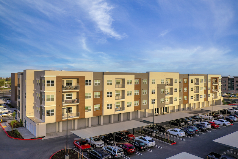 Allure Apartments Multi Family Residential Construction General Contractor Near Me Modesto Stockton Exterior Back View Garages Balconies