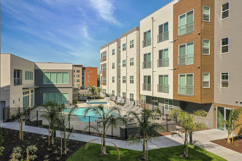 Allure Apartments Multi Family Residential Construction General Contractor Near Me Modesto Stockton Exterior Back Pool View