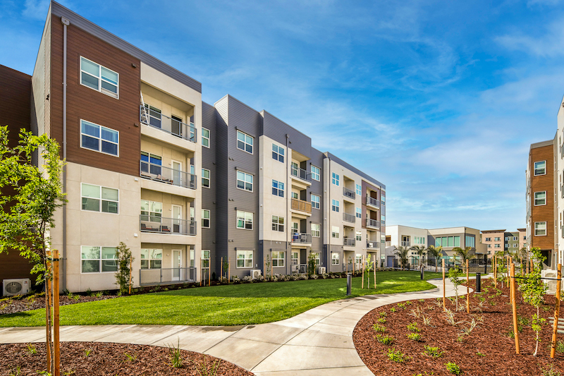 Allure Apartments Multi Family Residential Construction General Contractor Near Me Modesto Stockton Landscape Walk Path Between Buildings