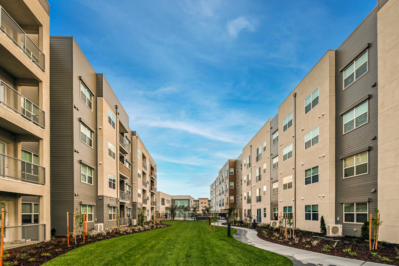 Allure Apartments Multi Family Residential Construction General Contractor Near Me Modesto Stockton Between Buildings View Landscape