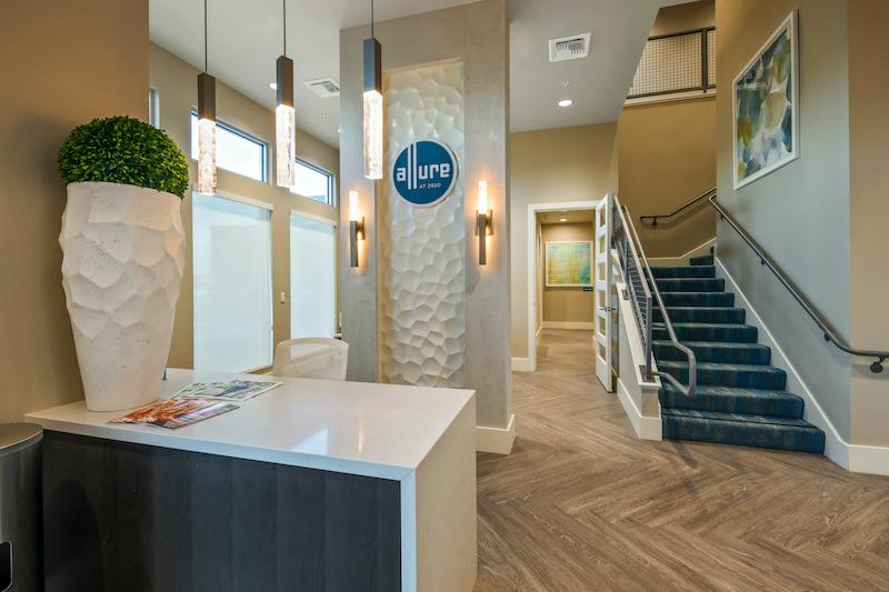 Allure Apartments Multi Family Residential Construction General Contractor Near Me Modesto Stockton Main Entrance Interior Receptionist Desk