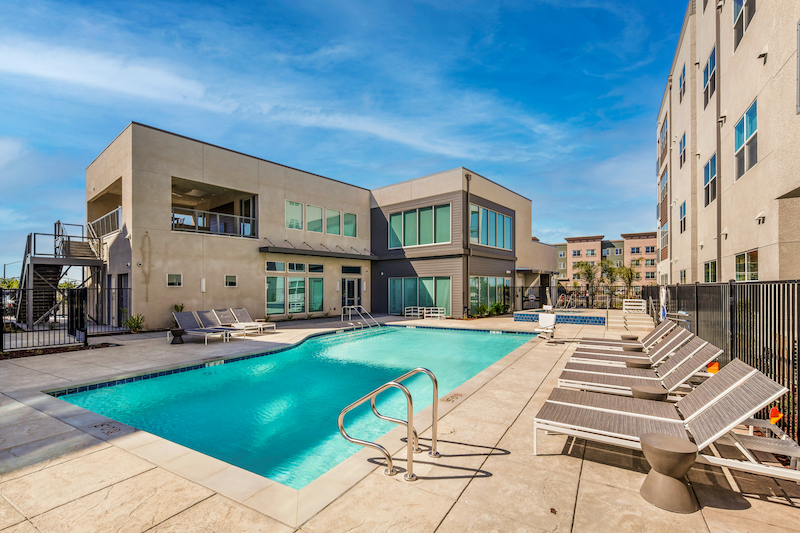 Allure Apartments Multi Family Residential Construction General Contractor Near Me Modesto Stockton Exterior Pool Clubhouse Corner View