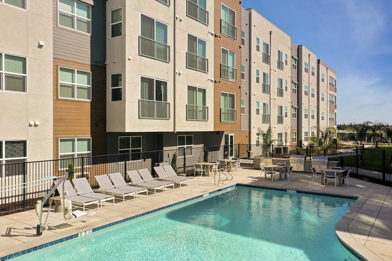 Allure Apartments Multi Family Residential Construction General Contractor Near Me Modesto Stockton Exterior Pool Clubhouse Front View