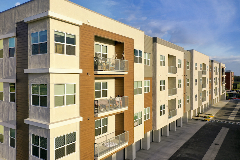 Allure Apartments Multi Family Residential Construction General Contractor Near Me Modesto Stockton Exterior Between Buildings side Balcony
