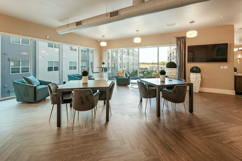 Allure Apartments Multi Family Residential Construction General Contractor Near Me Modesto Stockton Clubhouse Corner Dining Area View