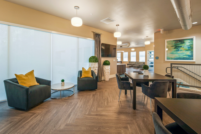 Allure Apartments Multi Family Residential Construction General Contractor Near Me Modesto Stockton Clubhouse Hallway View