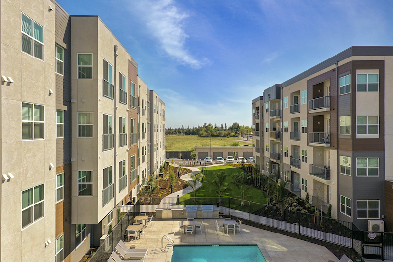 Allure Apartments Multi Family Residential Construction General Contractor Near Me Modesto Stockton Aerial Pool View