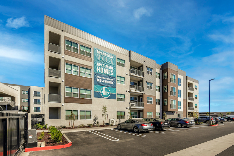 Allure Apartments Multi Family Residential Construction General Contractor Near Me Modesto Stockton Front Parking Lot