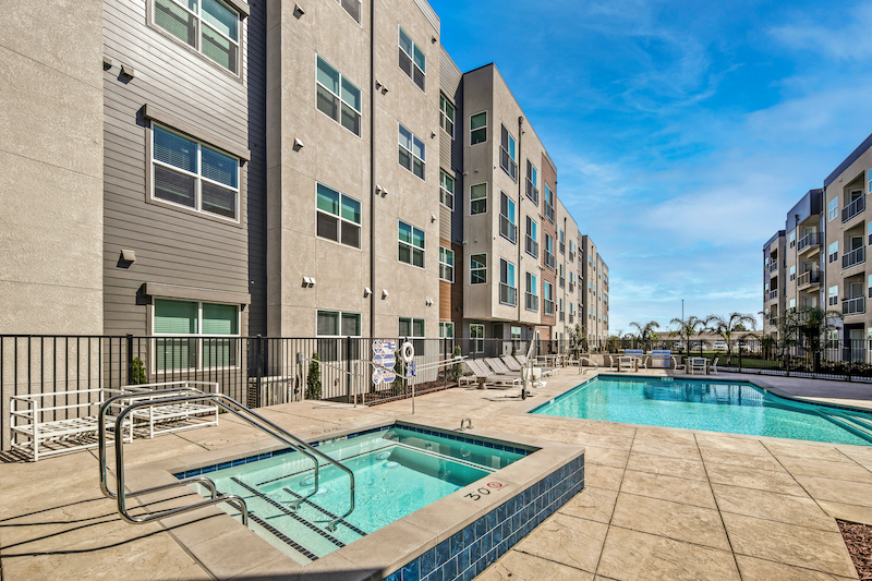 Allure Apartments Multi Family Residential Construction General Contractor Near Me Modesto Stockton Hot Tub Pool View