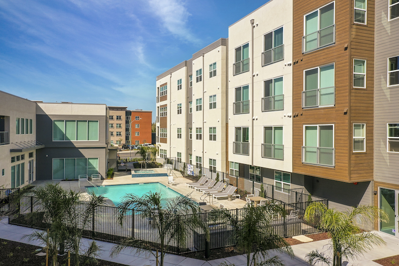 Allure Apartments Multi Family Residential Construction General Contractor Near Me Modesto Stockton Side Pool View