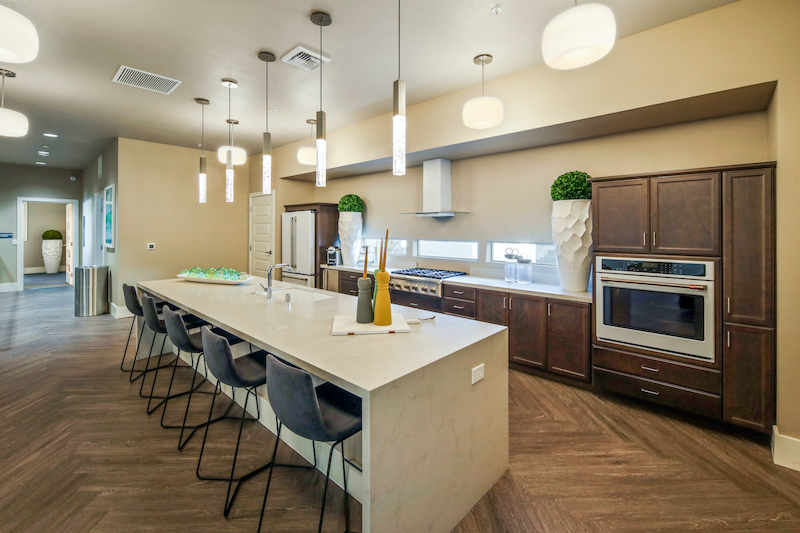 Allure Apartments Multi Family Residential Construction General Contractor Near Me Modesto Stockton Interior Dining Kitchen Clubhouse