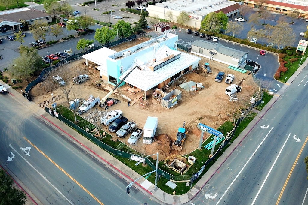 FM Bank Galt Commercial Construction Renovation Remodeling General Contractor Near me aerial view