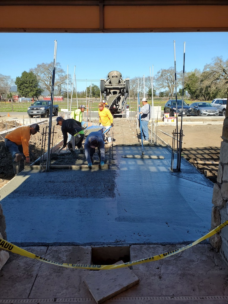 Bell Wine Cellars Remodel Renovation Commercial Construction Companies Near Me General Contractor Napa Winery Vineyard Concrete Pour Outdoor Area